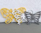Reserved for Jessica B....Wall Butterflies Upcycled Painted Wall Decor Butterfly set of 3 and Frames