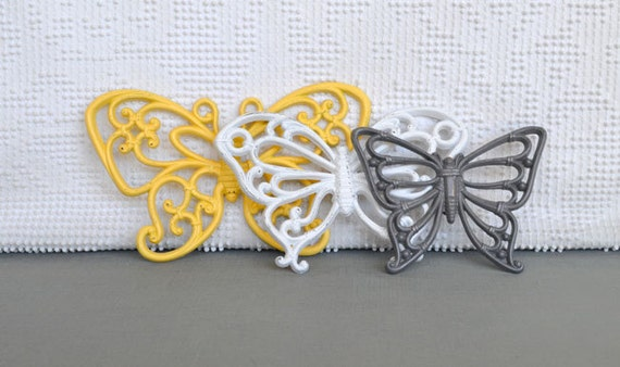 You PICK Color.....Wall Butterflies Upcycled Painted Wall Decor Butterfly set of 3 Yellow Gray Pink Aqua Teal Lime