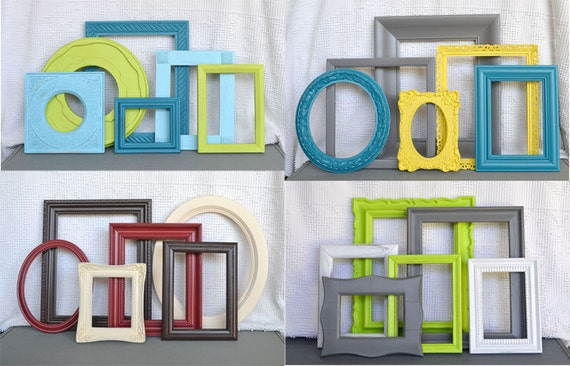 Custom Frames.. Ornate Chunky Frames set of 7... already chosen & pictured... You Pick Your Own COLORS Upcycled Frames Modern