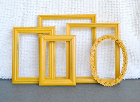 Marigold Yellow Painted Frames Set Of 5 Upcycled By Beautishe