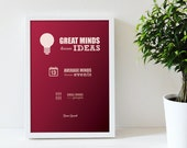 "Poster ""Great minds discuss ideas..."" - red"