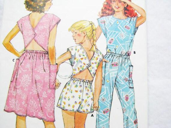 Vintage Girls Butterick 3838 Pattern Sewing Dress JUMPSUIT - Fast & Easy BEGINNER Friendly - Sz. 7  8  10  -  1986