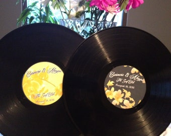 LP Vinyl Record Albums (2) with Personalized Center Labels- Wedding Stickers/Labels/Party Guestbook