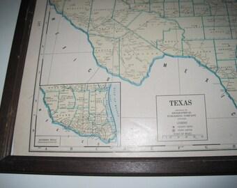 Vintage 1942 Texas and Utah Map