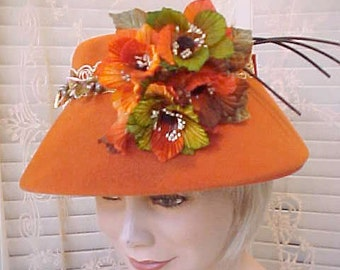 Autumn Beauty-Gorgeous Vintage 1950's Hat with Gorgeous Autumn Flowers and Jewels