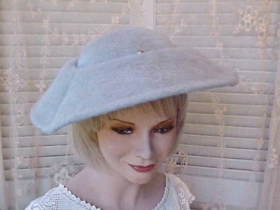 Charming Vintage 1950's Light Blue Hat with Rhinestone Ornament