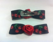 Black Cherry Bow clips with Red Satin Roses (x2)