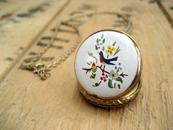 Vintage locket necklace / gold tone Folk bird and tree cameo / pocket watch style / Bird of the Summer
