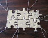Six Initial Stamped Silver Pendant Necklaces