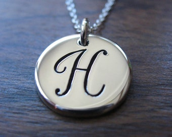 H Initial Silver Pendant Necklace