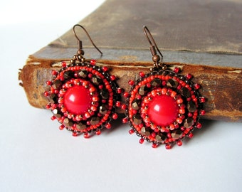 Red Brown Earrings Red dangle Earrings Bead embroidery Earrings Beadwork Earrings Red jewelry Boho jewelry MADE TO ORDER
