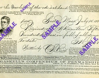 Digital Download-Beautiful Vintage Penmanship from another era