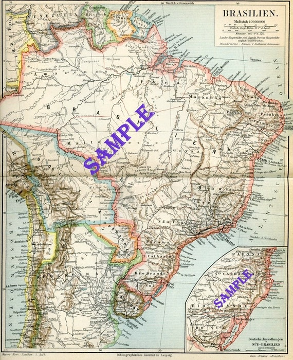 1896 Vintage Map of Brazil from German Lexicon