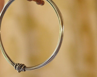 Gorgeous hand forged  sterling silver looped wire bangle, unique,