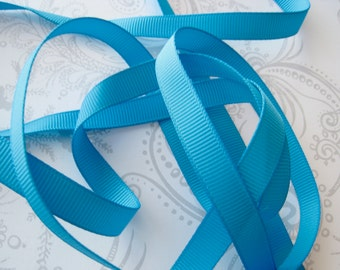 Turquoise Grosgrain Ribbon 3/8in -- 3 yards -- Cerulean Blue -- 9.5mm