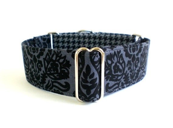 Black Damask Martingale Dog Collar