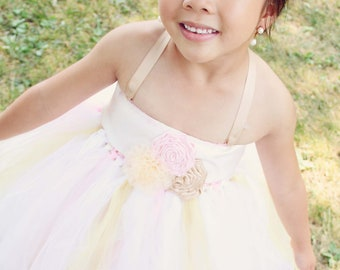 Rose Trio Flower Girl Tutu Dress- Wide Ribbon completely covers crochet top, customize your colors