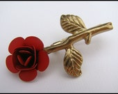 Vintage Pin, Rose in Brass, Brooch, Red, For her, Casual, Retro