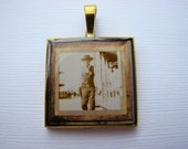 Resin Pendant, Sheriff, Country, Western, Rustic, White, Beige, Brown, Unisex, 1 inch, Square