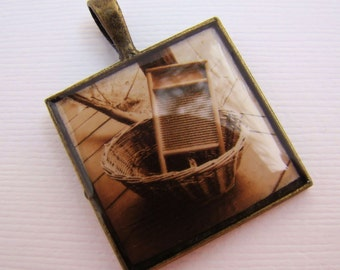 Photo Jewlelry, Resin Pendant, Vintage Washing Board, Beige, Brown, 1 inch, Square
