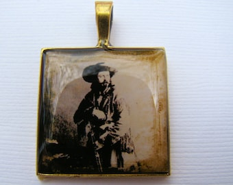 Resin Pendant, Cowboy, Country, Western, Rustic, Beige, White, Black, For Him, 1 inch, Square