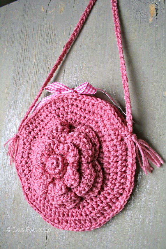 Crochet bag pattern crochet girls flower purse pattern, crochet tote ...