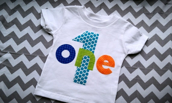 First Birthday Shirt Ready to ship size 18 Month White Blue and Orange