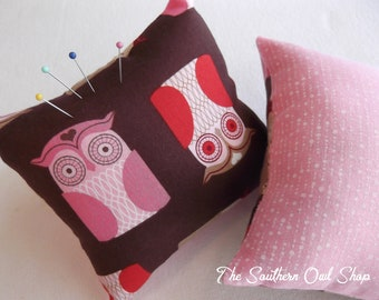 Red and pink owl pink cushion/sorority badge pillow