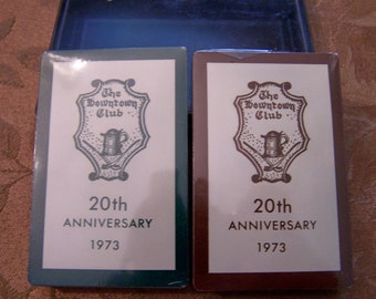 Price Reduced Vintage Playing Cards c. 1973 20th Anniversary The Downtown Club Richmond Virginia