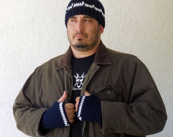 Mens fingerless gloves and beanie set, wrist warmers, mittens, cap, gloves in Navy blue and white
