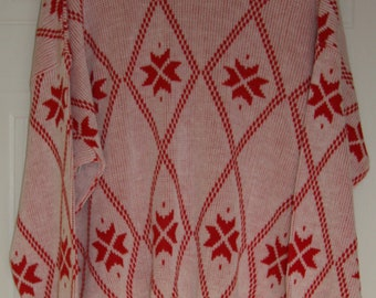 Vintage Red and white sweater by De Vono's - L/G