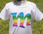 RAINBOW initial shirt or onesie and HAIR BOW set