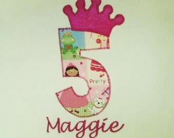 Custom Girl Birthday Onesie or Shirt with a crown