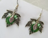 Beaded Earrings / Drop Earrings / Dangle Silver and Green Earrings / Green Jewelry / Matching Beaded rNecklace and Earring Set