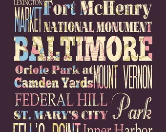 Baltimore, Maryland, Typography Poster/Bus/ SubwayRollArt 1620-Floral Series Baltimore's Attractions Wall Art Decoration-LHA-178-C03