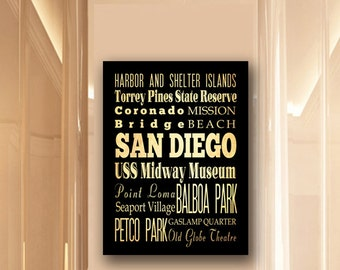 Large Typography Art Canvas of San Diego, California - Subway Roll Art 24X30 - San Diego's Attractions Wall Art Decoration -  LHA-194