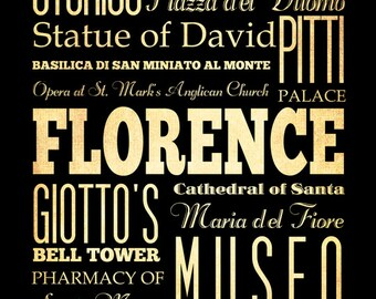 Florence, Italy, Typography Art Poster / Bus/ Transit / Subway Roll Art 18X24-Florence's Attractions Wall Art Decoration-LHA-312