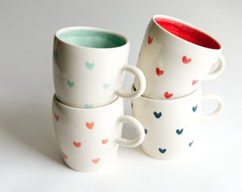 Coffee Mug Set of 4- Teal Coral Red Heart and Mint Handmade Ceramics by RossLab Valentines Day Romantic Brunch Gift for her girlfriend