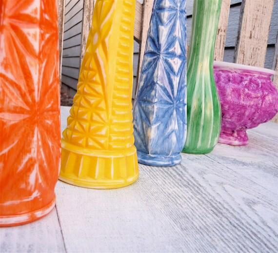 Bright Colored Shabby Chic Milk Glass Vases Set