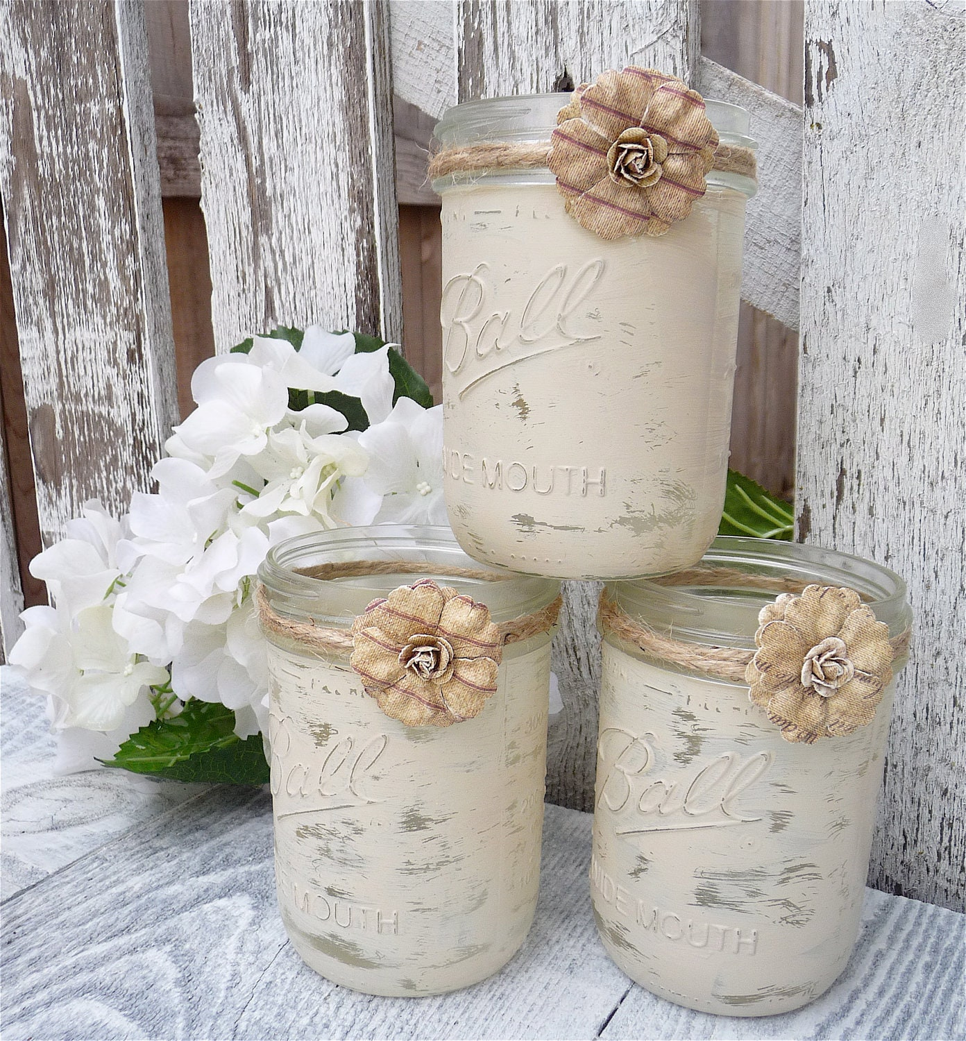 Shabby Chic Country Upcycled Mason Jar Candle By