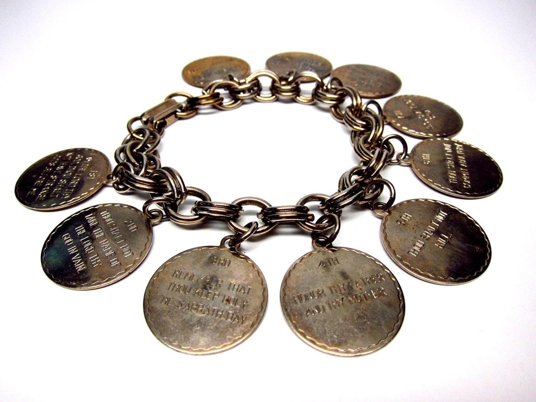 religious charm bracelet ten commandments vintage metal