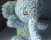 Crochet Plush Elephant.  Stuffed Elephant toy.  Amigurumi Baby Animal.