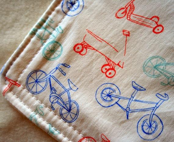 Eco Friendly Baby Travel Blanket - Bikes & Trikes-  READY TO SHIP
