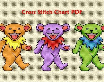 Dancing Bears Cross Stitch Pattern PDF