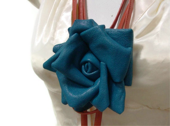 Teal Leather Rose with Rust Belt /Necklace-OOAK