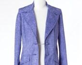 Blue Vintage Jacket Blazer Womens Hipster Medium