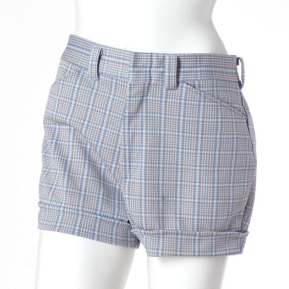 80s Vintage Shorts Blue Plaid Preppy Pastel Medium