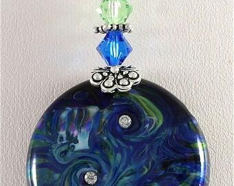 Black, Green, Blue, Handmade Glass Lampwork Pendant, SRAJD, DUST Team