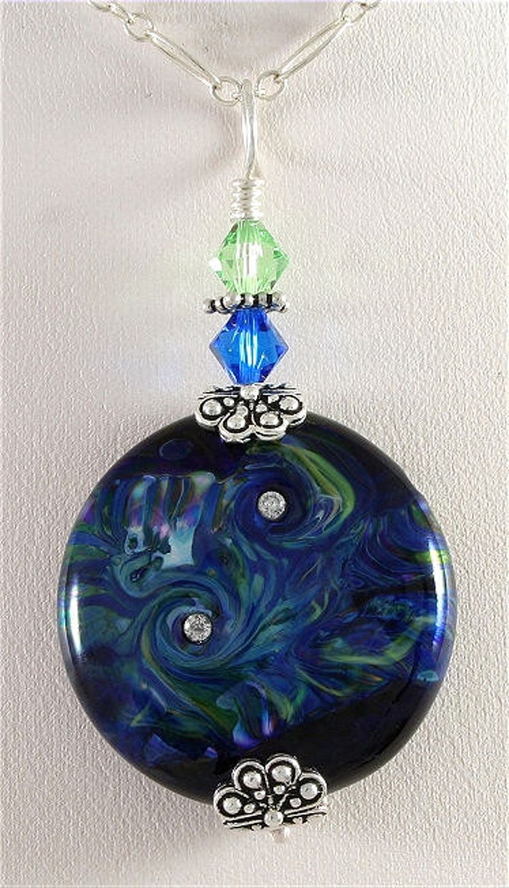 Black, Green, Blue, Handmade Glass Lampwork Pendant, SRAJD, DUST Team