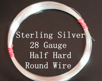 28 g ga Gauge Sterling Silver Wire - Round - Half Hard - sold by 5 feet increments (RW2801SS)